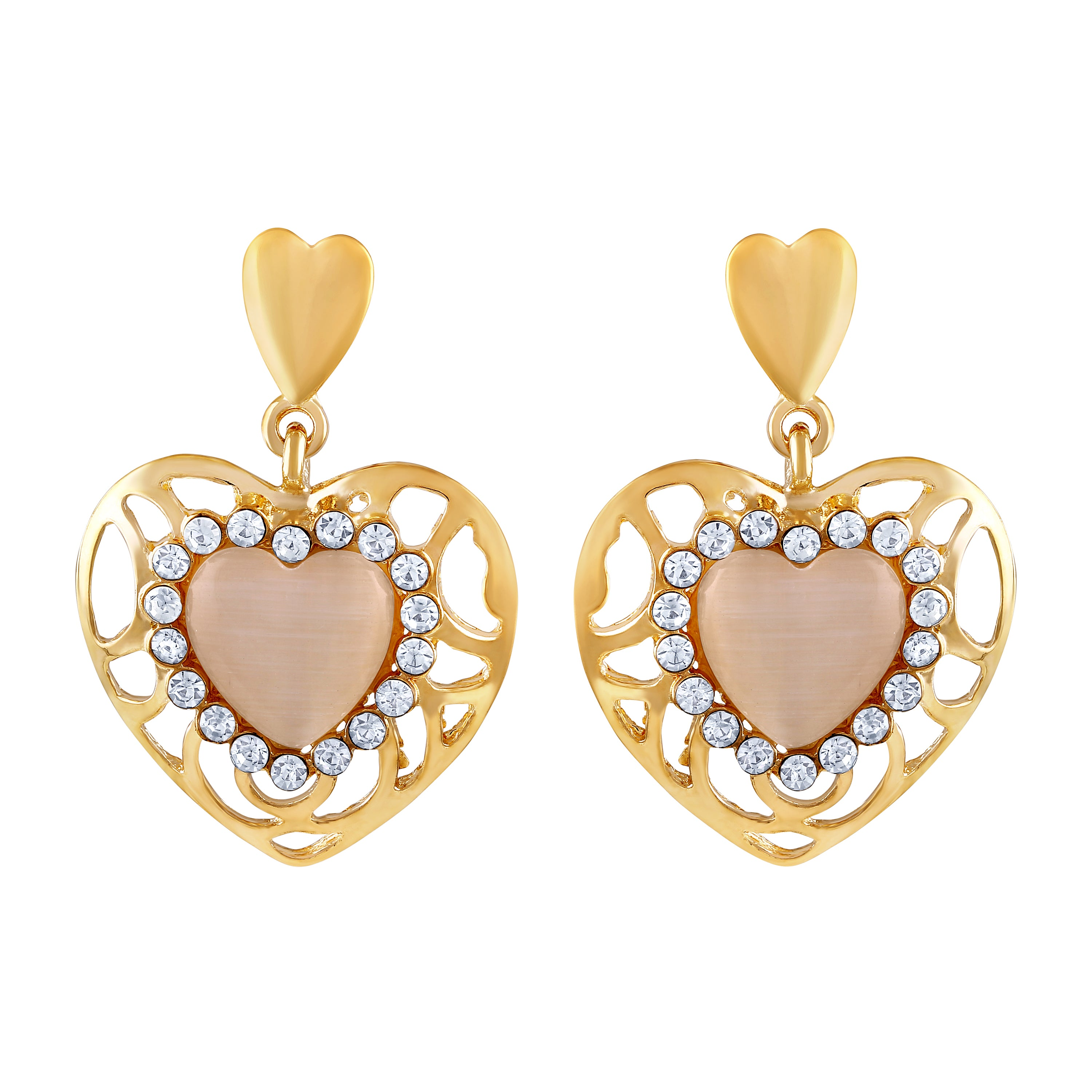 687e124ef Asmitta Classy Heart Shape With Crystal Gold Plated Dangle Earring For Women