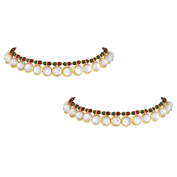 Asmitta Jewellery Gold Brass Anklets (Pack of 2) -AN105