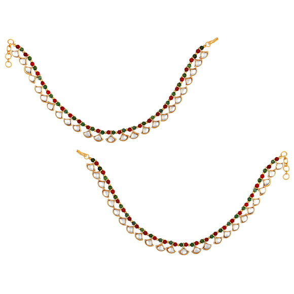 Asmitta Jewellery gold  multi Brass Anklets (Pack of 2) -AN106