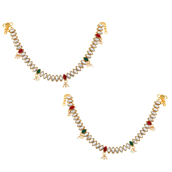 Asmitta Jewellery gold Alloy Anklets (Pack of 2) -AN108
