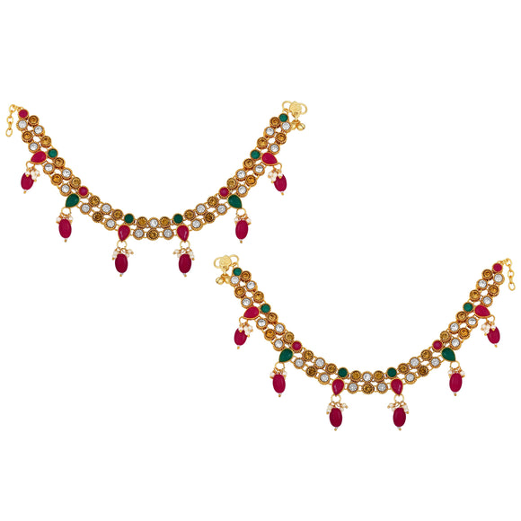 Asmitta Jewellery Alloy Anklets (Pack of 2) -AN110