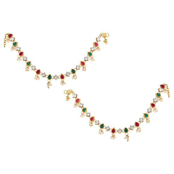Asmitta Jewellery Gold  Multi Alloy Anklets (Pack of 2) -AN111