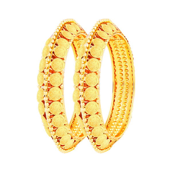 Asmitta Youthful Laxmi Coin Gold Plated Bangle Set For Women
