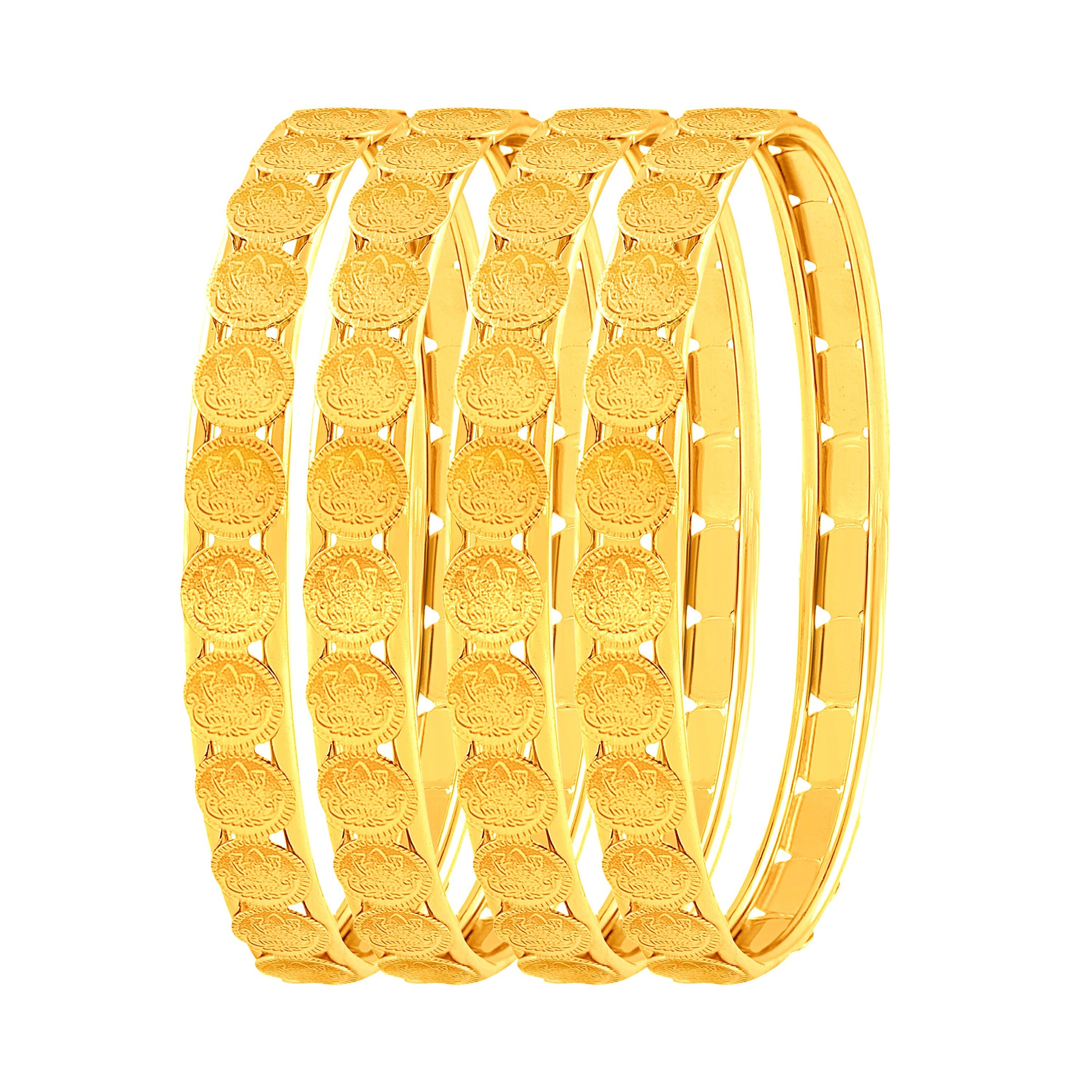 Asmitta Jewellery Laxmi Coin Gold Set Of 4 Bangles  -BG123