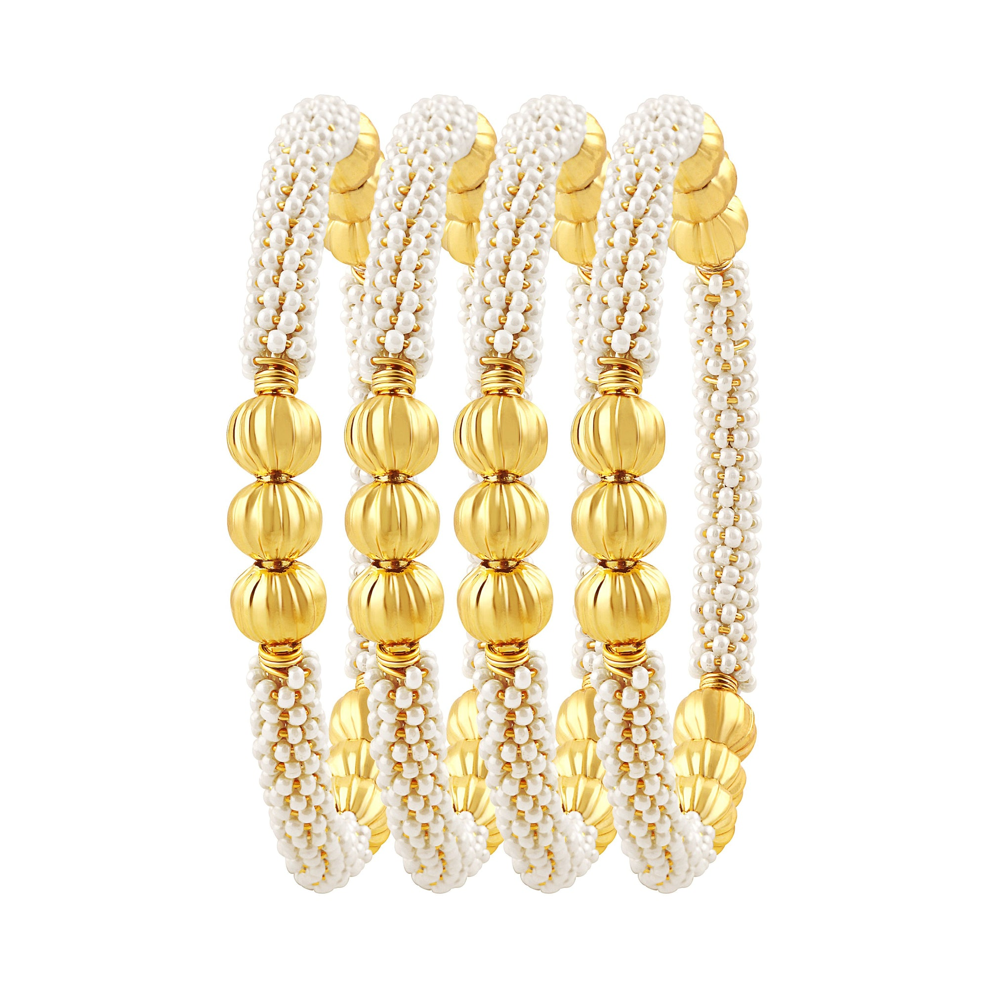 Asmitta Jewellery Beaded Gold Set Of 4 Bangles  -BG135