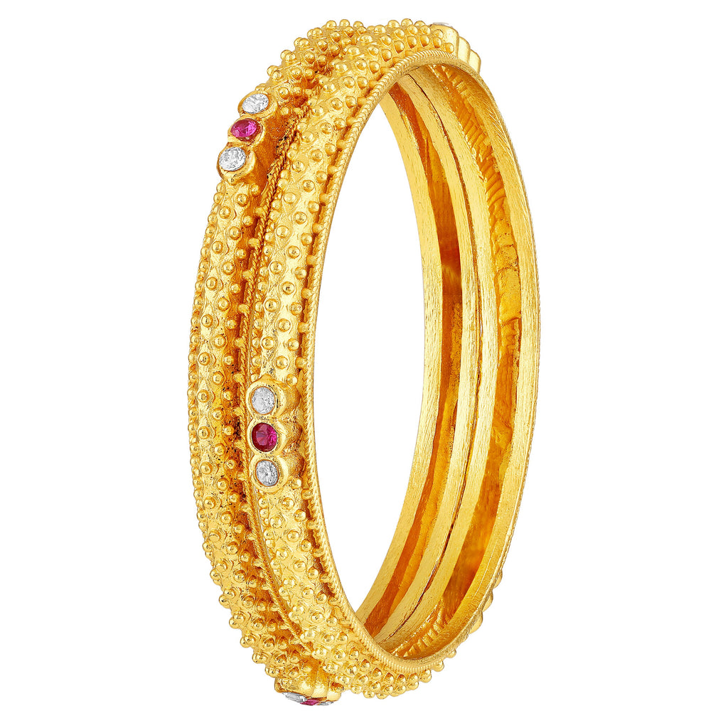 77cd265a20382 Asmitta Traditional Designer Brass Gold Plated White & Pink Stone Set of 2  Bangle Set For Women