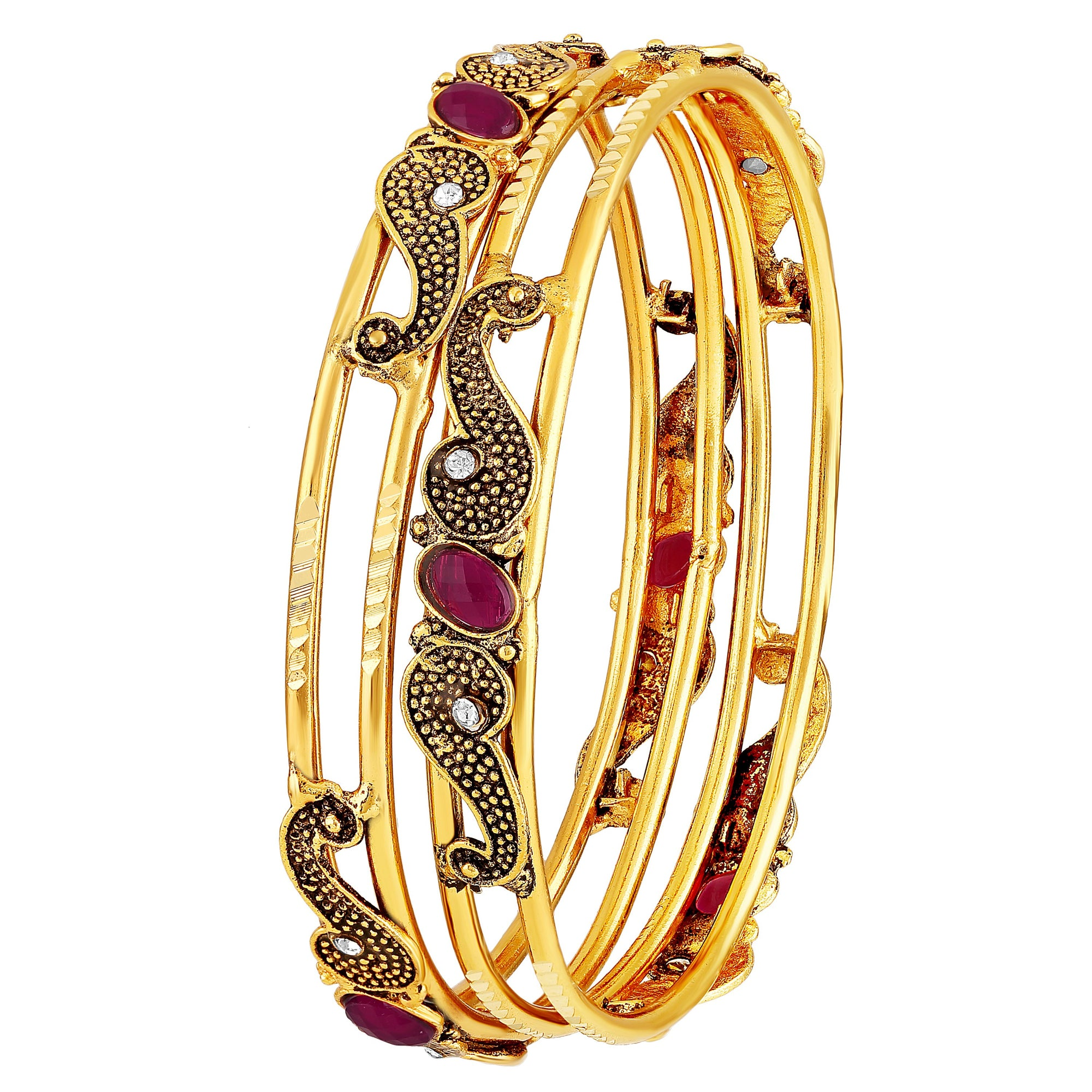 Asmitta Jewellery Oxidised Gold Set of 2 Bangle Set  -BG278