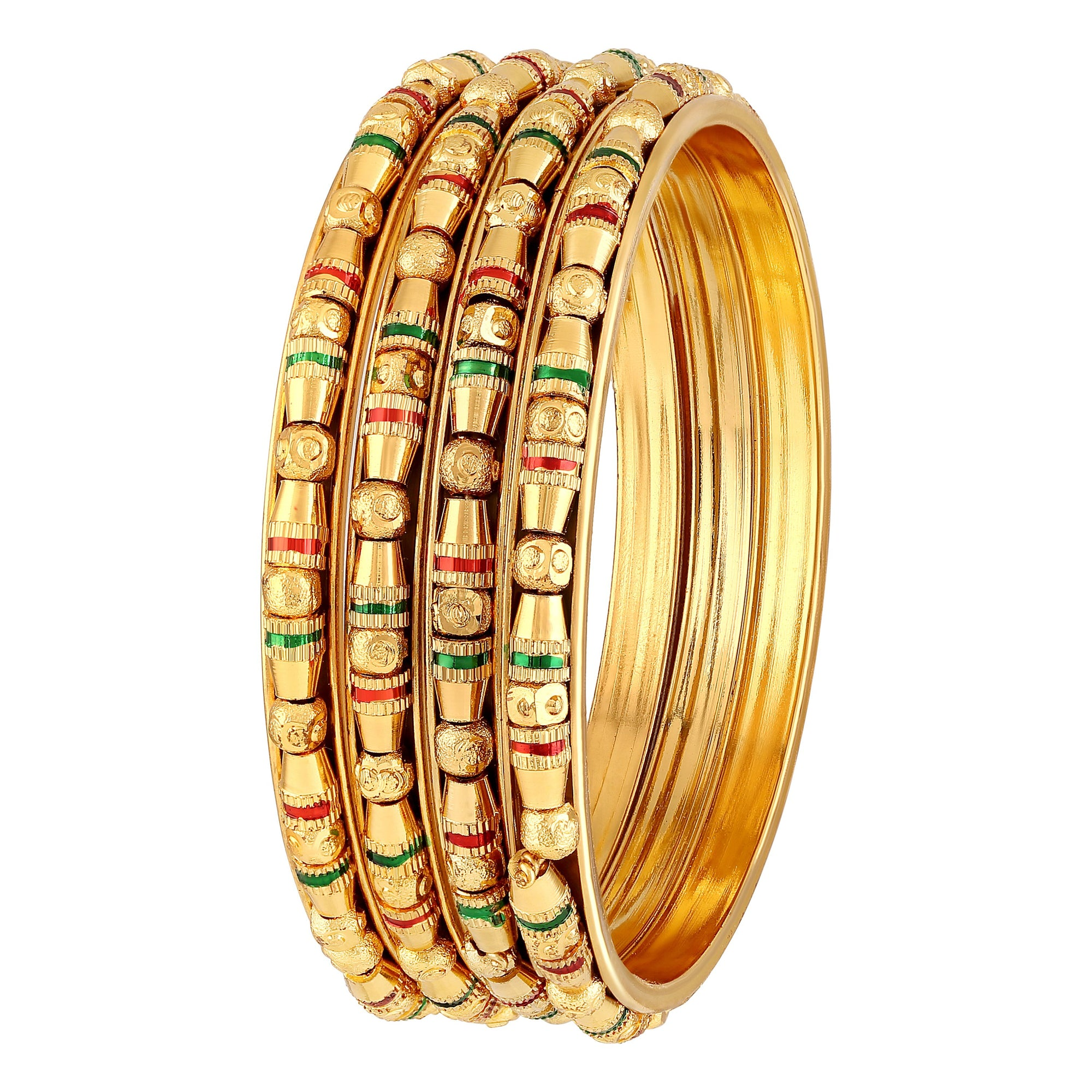 Asmitta Jewellery  Brass Gold Set of 4 Bangle Set  -BG282