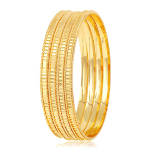 Asmitta Traditional Designer Gold Plated Set Of 4 Brass Bangle Set For Women