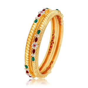 Asmitta Exclusive Brass Gold Plated Multy Colour Stone Bangle Set For Women