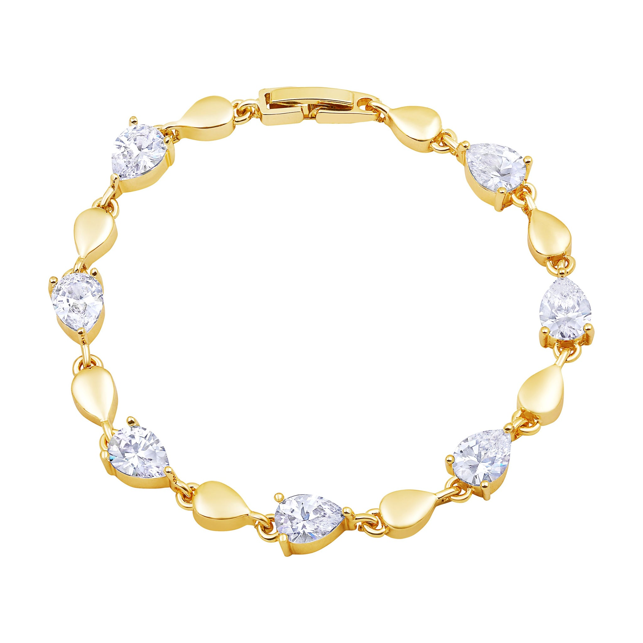 Asmitta Exquitely Pear Shape Stone Gold Plated Bracelet For Women