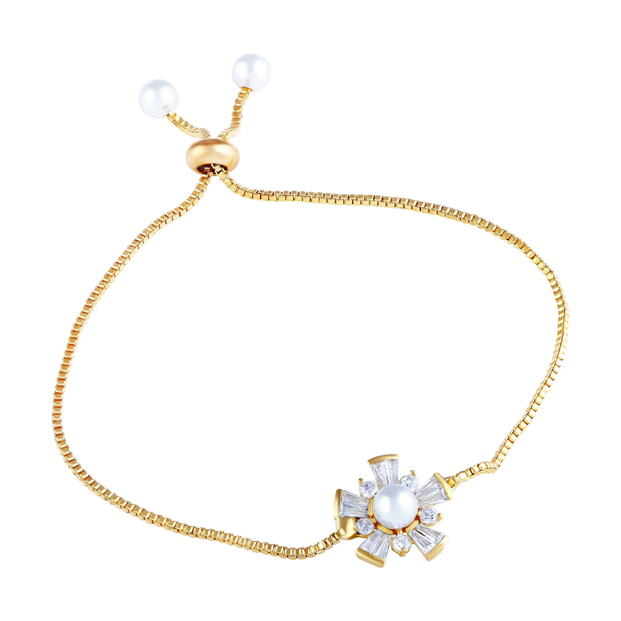 Asmitta Exquitely Gold Plated White Stone Bracelet For Women