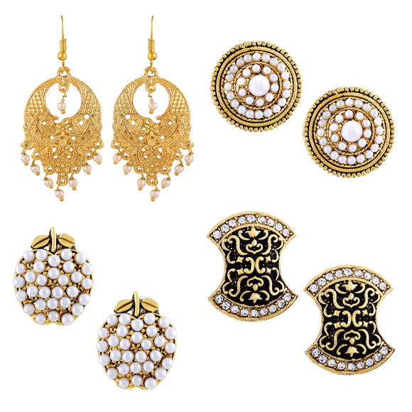 Asmitta Jewellery Gold Combo of 4 Zinc Drops Danglers  -CB102