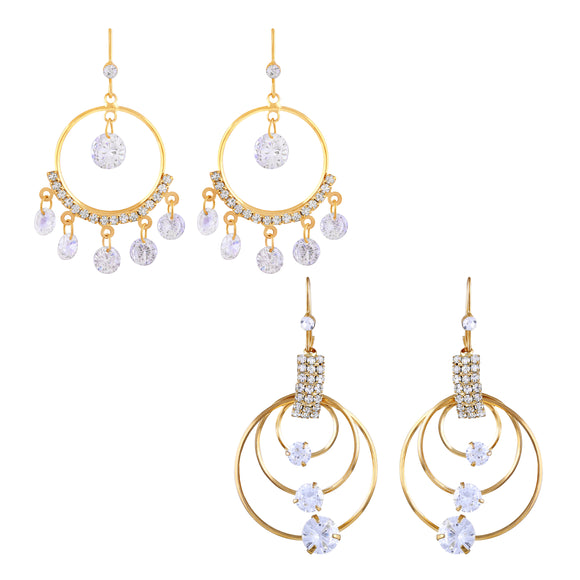 Asmitta Round Shape Gold toned Combo Of 2 Earring -CB148