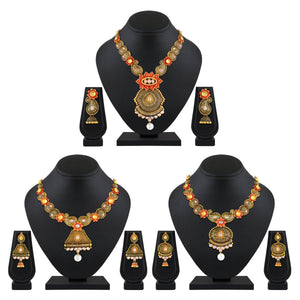 Asmitta Jewellery Gold Zinc Necklace Set Combo - CB210