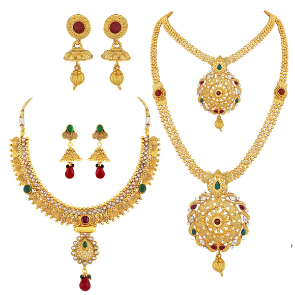 Asmitta Jewellery Gold Copper Necklace Set Combo - CB219