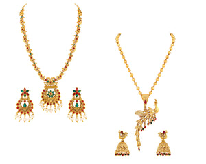 Asmitta Jewellery Gold Brass Necklace Set Combo - CB271