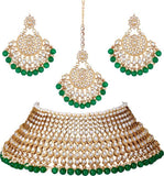 Brass Gold-plated Jewel Set  (White, Green)