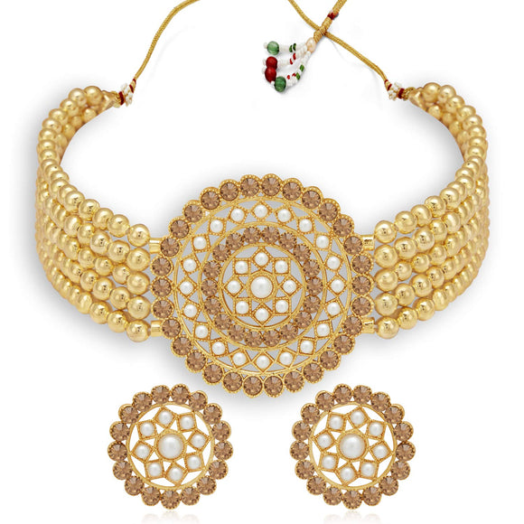 Adorable Gold Plated Pearl Choker Necklace Set for Women