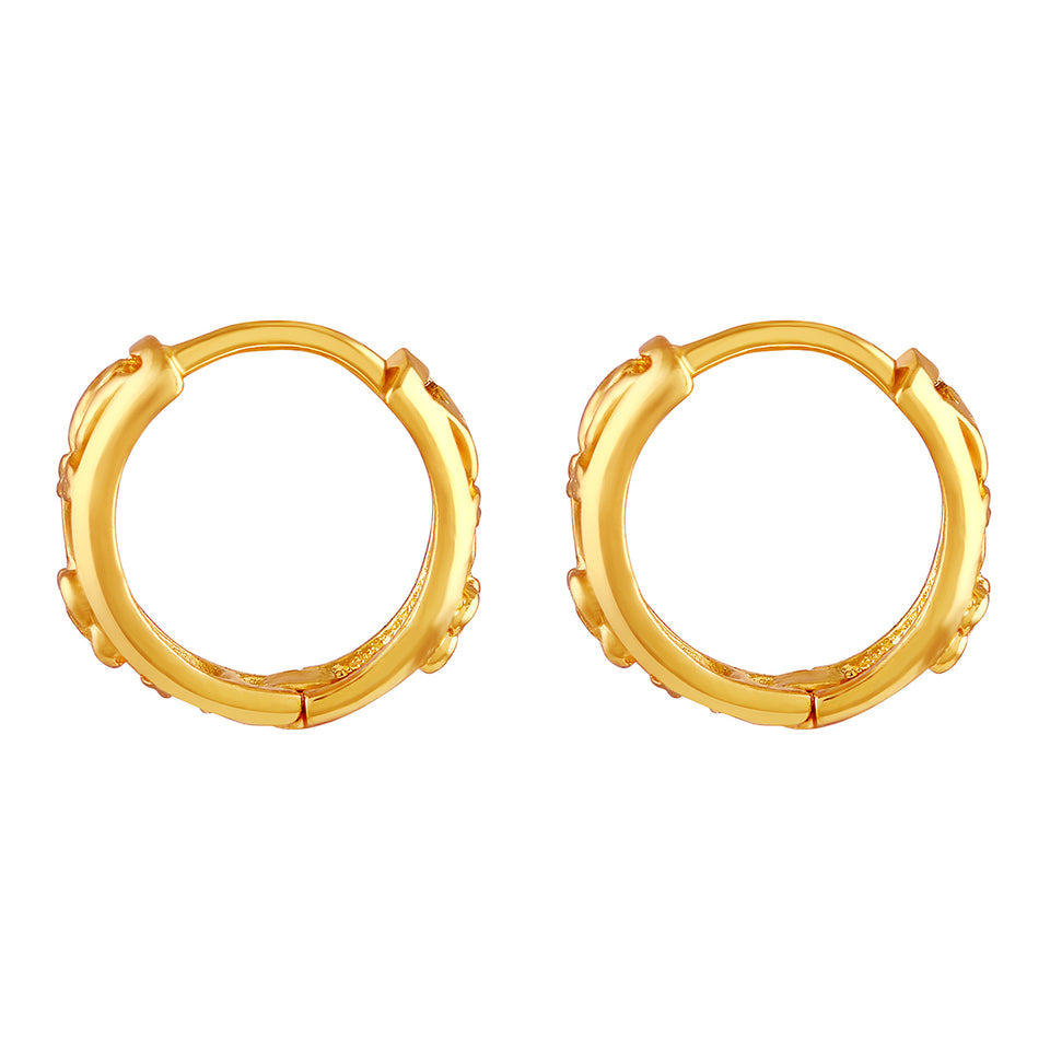 Asmitta Sparkling Bali Hoop Gold Plated Earring For Women
