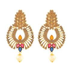 Asmitta Ritzy Dangle Gold Plated LCT Stone Earring For Women