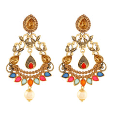 Asmitta Dazzling Chandbali Gold Plated LCT Stone Earring For Women