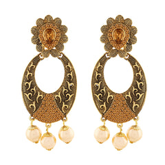 Asmitta Glamorous Dangle Gold Plated LCT Stone Earring For Women