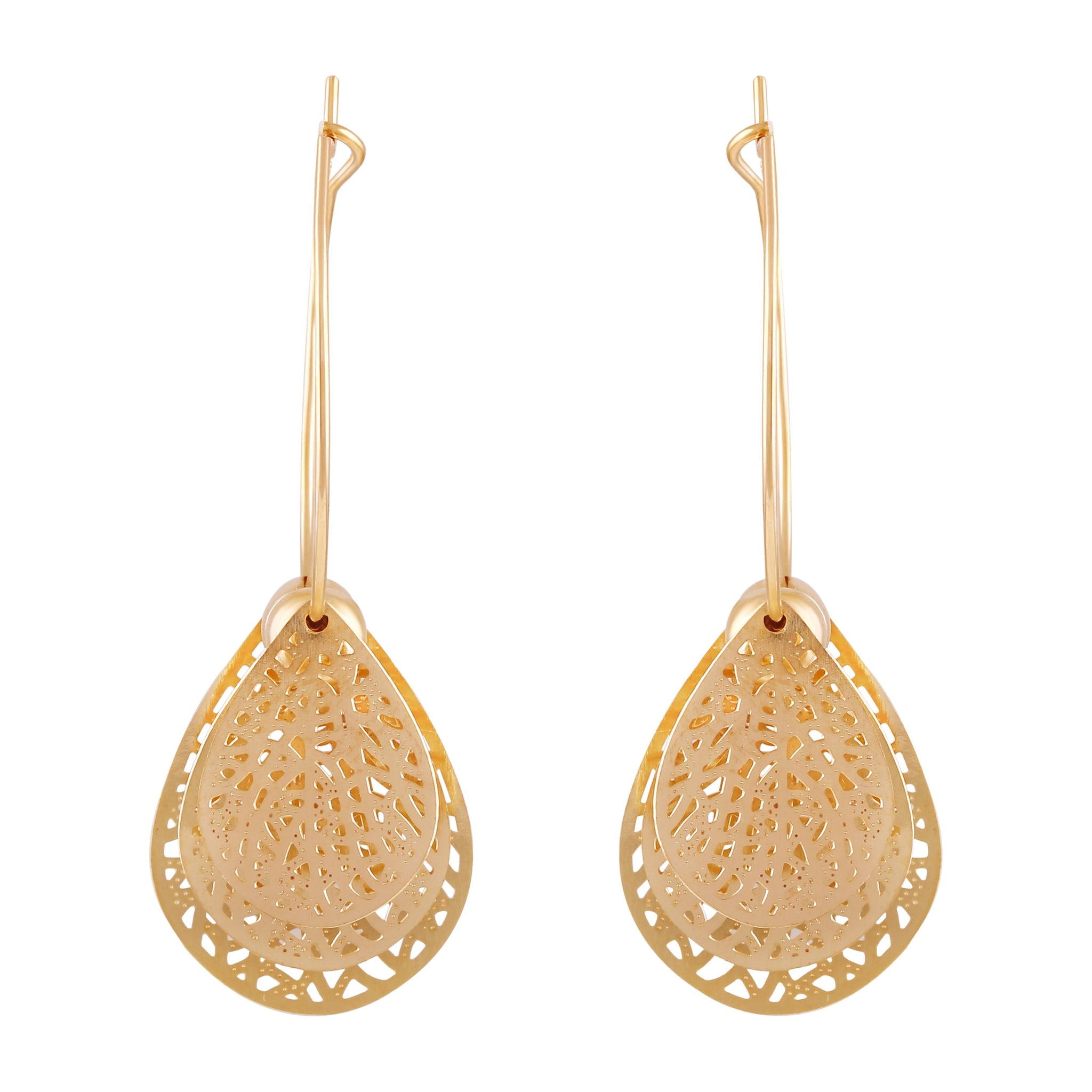 Asmitta Attractive Dangle Gold Plated Leaf Shape Earring For Women