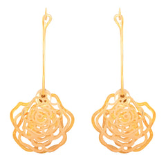 Asmitta Incredible Dangle Gold Plated Rose Shape Earring For Women