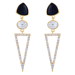 Asmitta Marvellous Dangle Gold Plated Geographical Shape Earring For Women