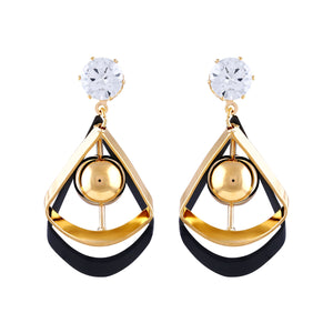 Asmitta Graceful Dangle Gold Plated Cone Shape Black Gold Color Earring For Women