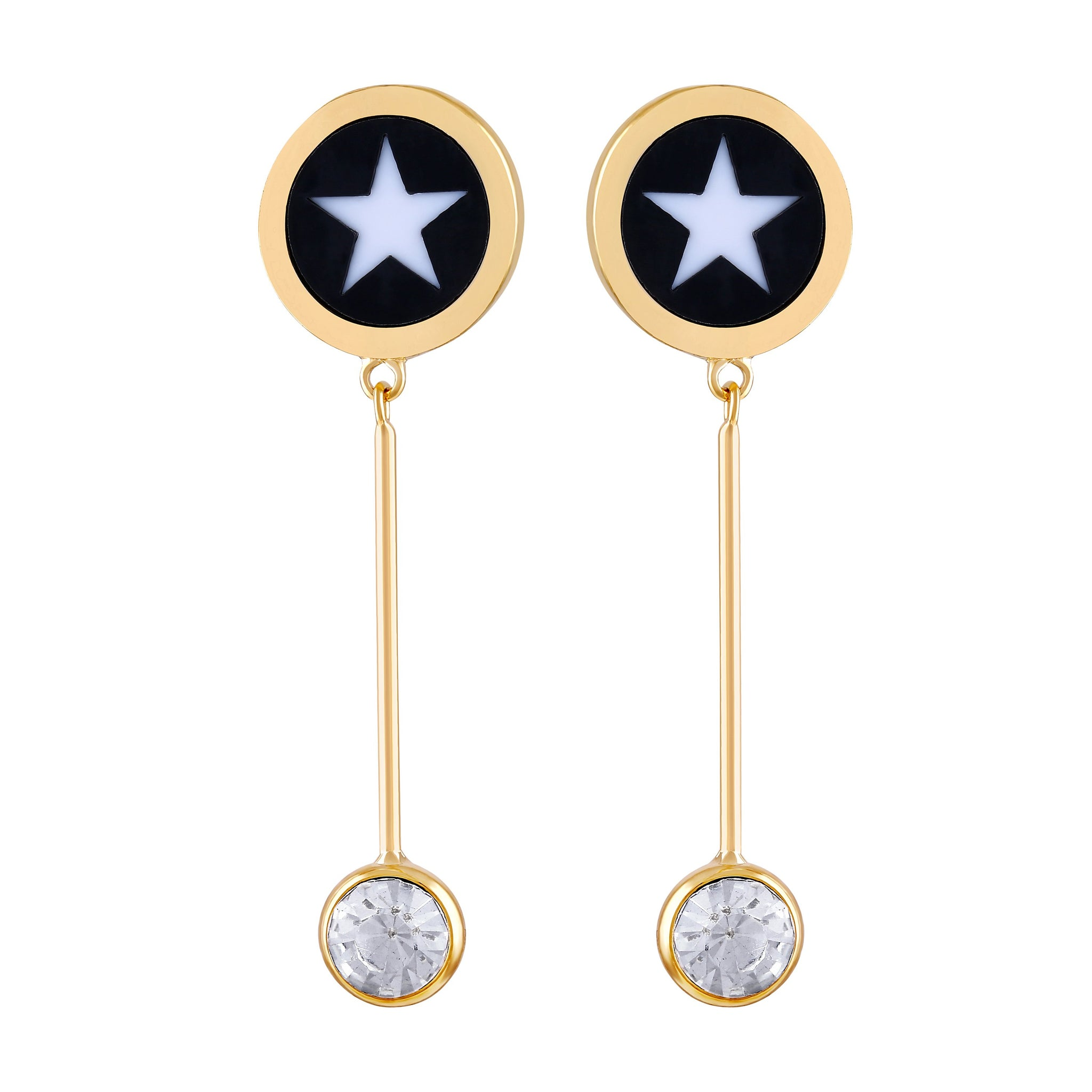 Asmitta Artistically Dangle Gold Plated Round Shape Star Design Earring For Women