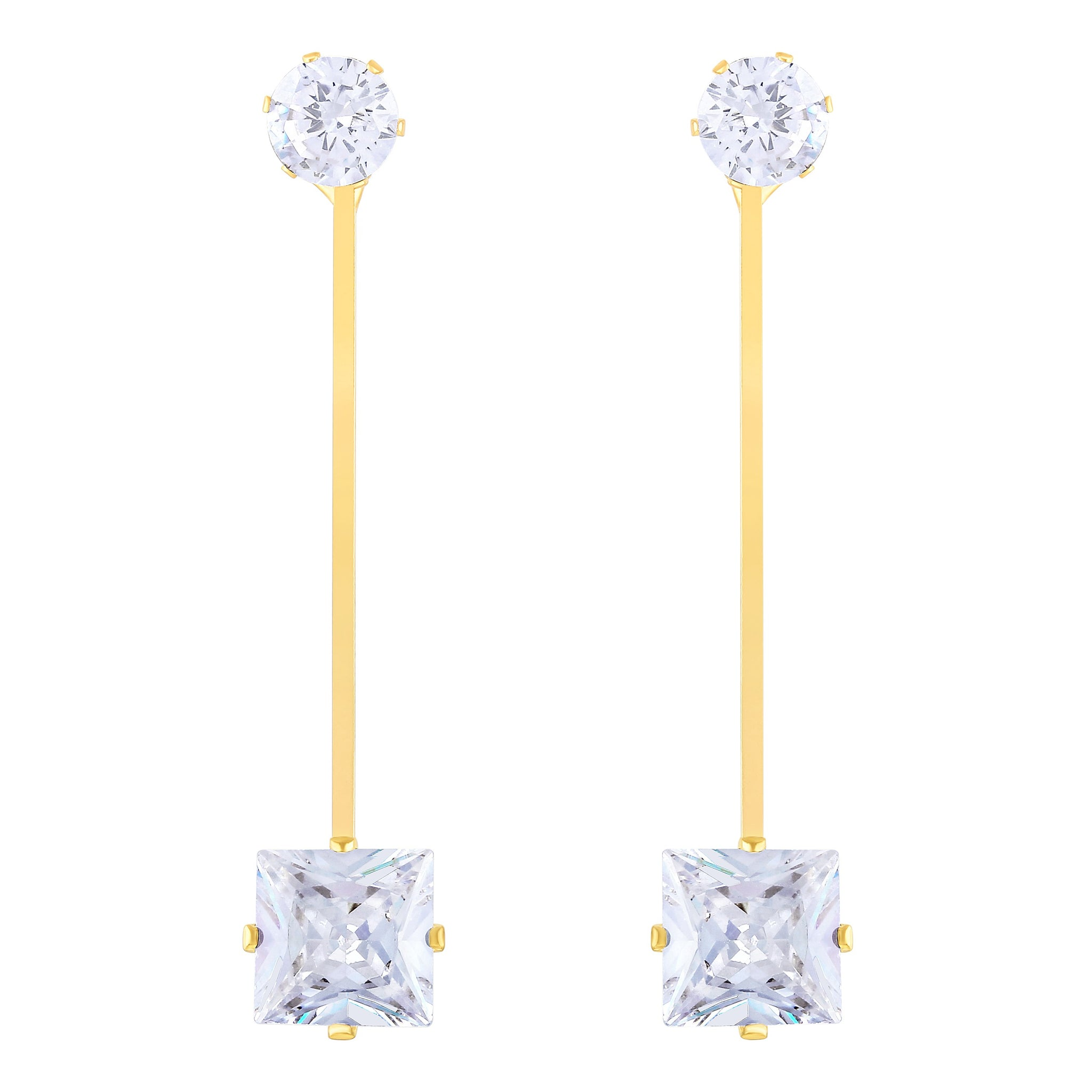 Asmitta Ritzy Dangle Gold Plated Square Stone Earring For Women