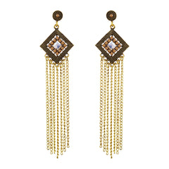 Asmitta Angelic Dangle Gold Plated Square Shape Earring For Women