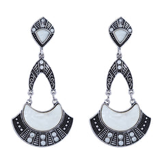 Asmitta Ethnic Dangle Rhodium Plated Chandbali Shape With Silver Earring Earring For Women