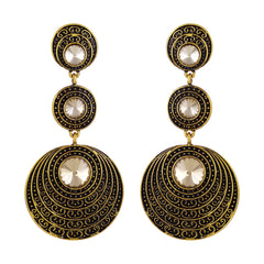 Asmitta Exquisite Dangle Gold Plated Round Shape Earring For Women