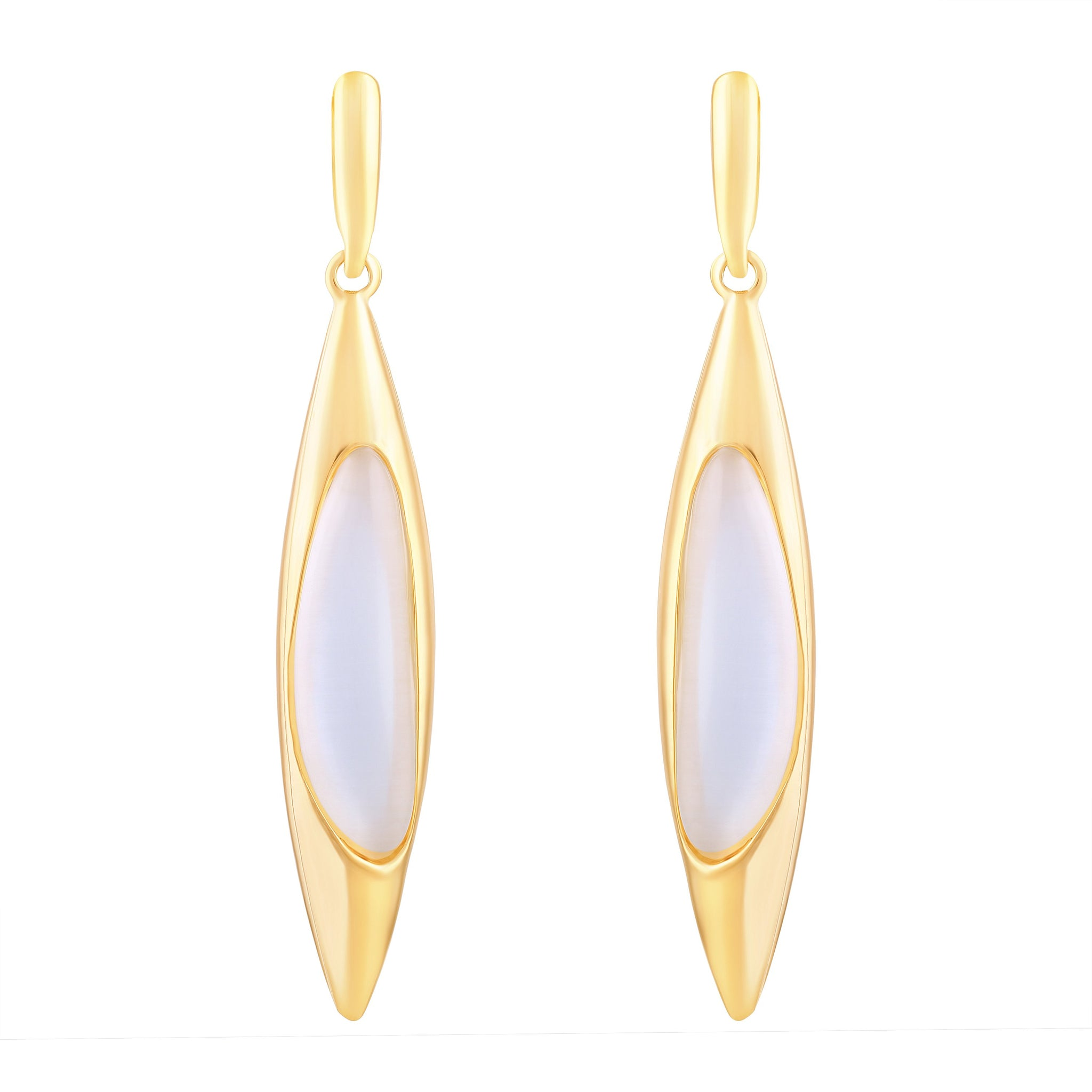 Asmitta Stylish Marquise Shape With Crystal Gold Plated Dangle Earring For Women