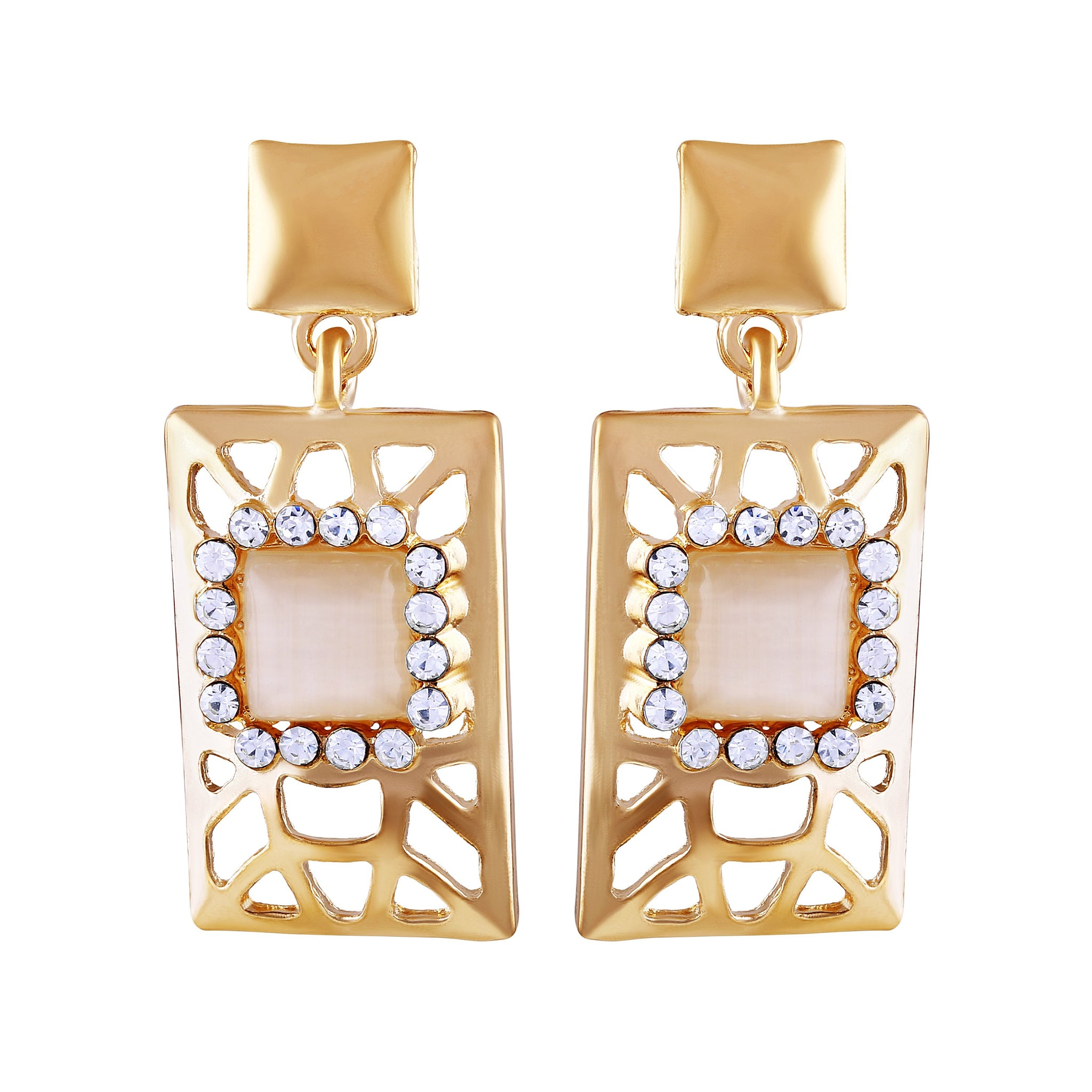 Asmitta Graceful Square Shape Rectangle Gold Plated Dangle Earring For Women