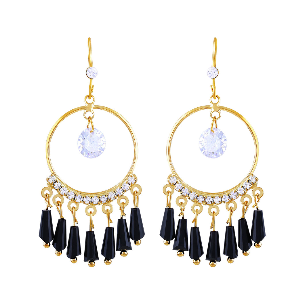 Asmitta Delightful Ring Shape Party Wear Gold Plated Hanging Earring For Women