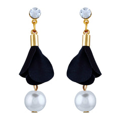 Asmitta Finely Black & White Combination Gold Plated Dangle Earring For Women