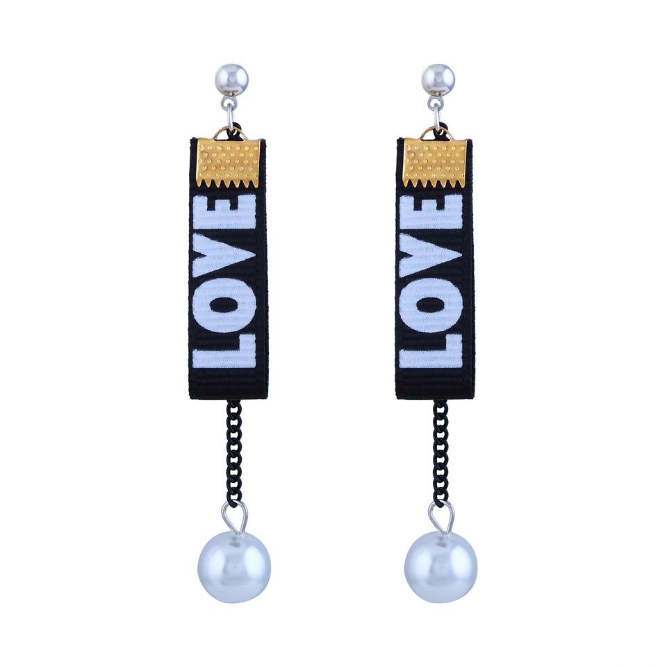 Asmitta Shimmering Black Poltster With White Pol Rhodium Plated Dangle Earring For Women