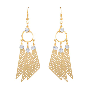 Asmitta Splendid Round Shape With Triangle Gold Plated Hanging Earring For Women