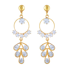 Asmitta Glittery Round Shape With White Stone Gold Plated Dangler Earring For Women