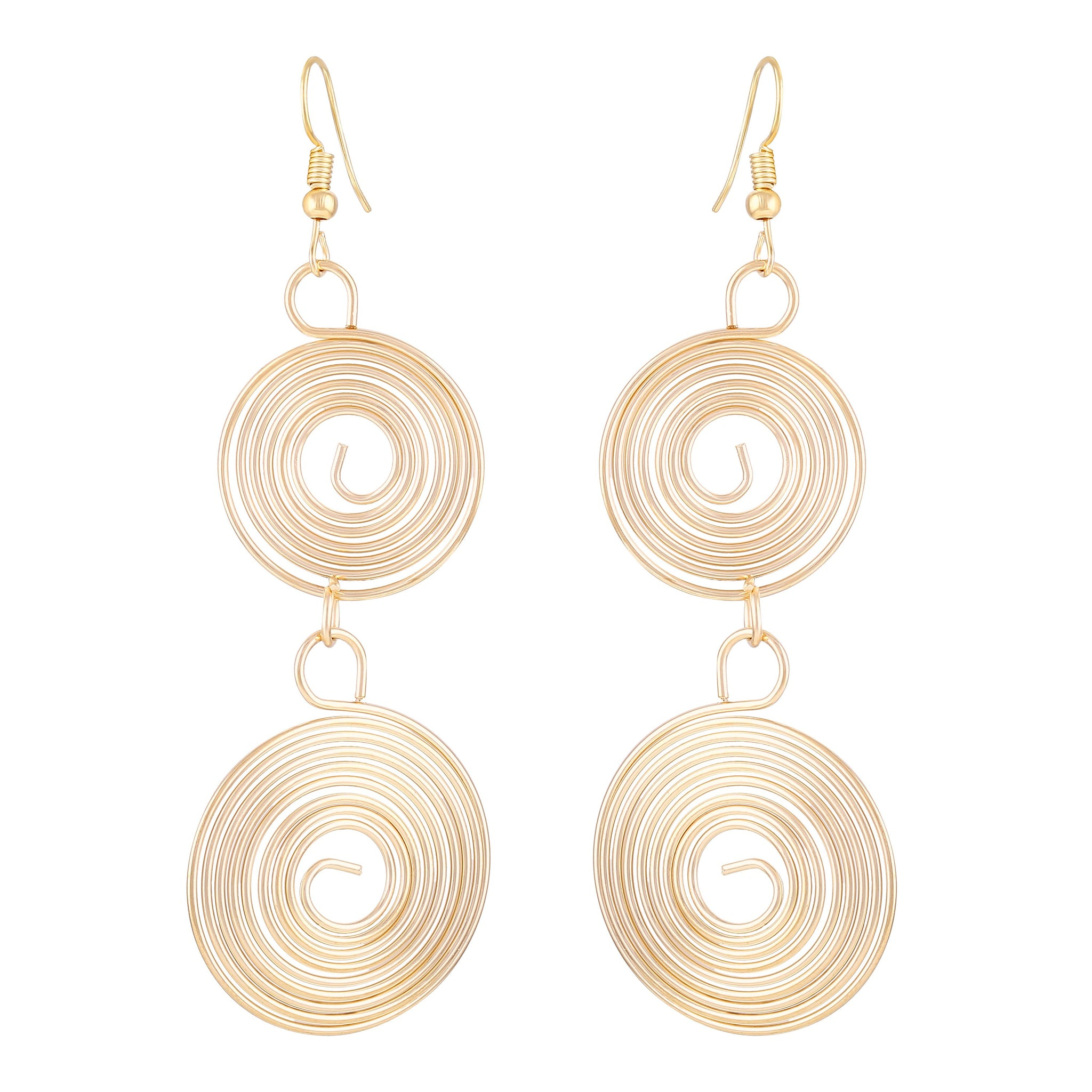 Asmitta Delightly 2 Round Shape Gold Plated Drop Earring For Women