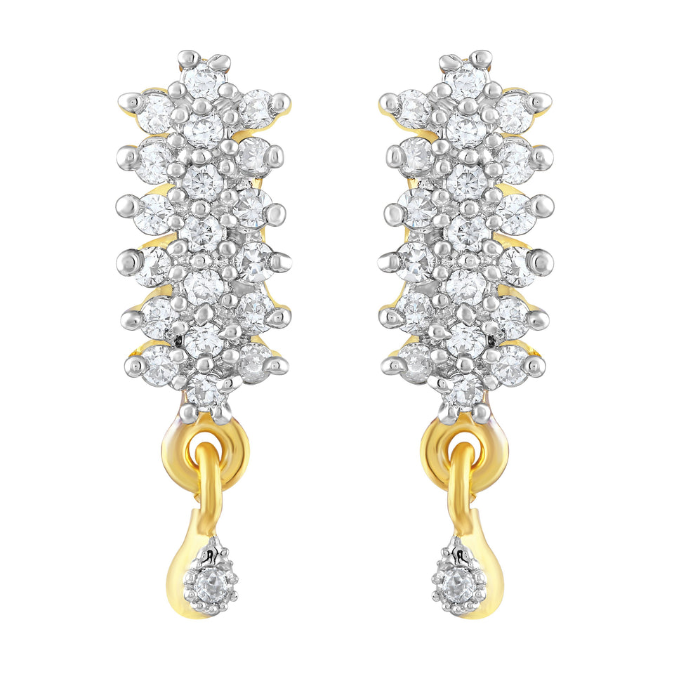 Asmitta Wavy American Diamond Gold Plated Dangle Earring For Women