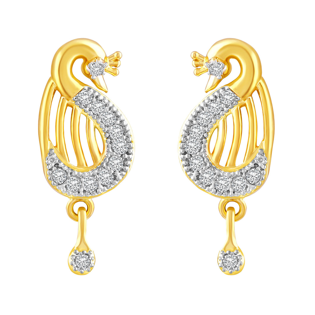 Asmitta Ethnic Peacock American Diamond Gold Plated Dangle Earring For Women