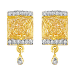Asmitta Glorious Square Shape American Diamond Gold Plated Dangle Earring For Women