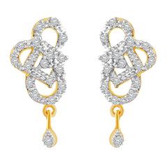 Asmitta Marquise Round & Square Shape American Diamond Gold Plated Dangle Earring For Women