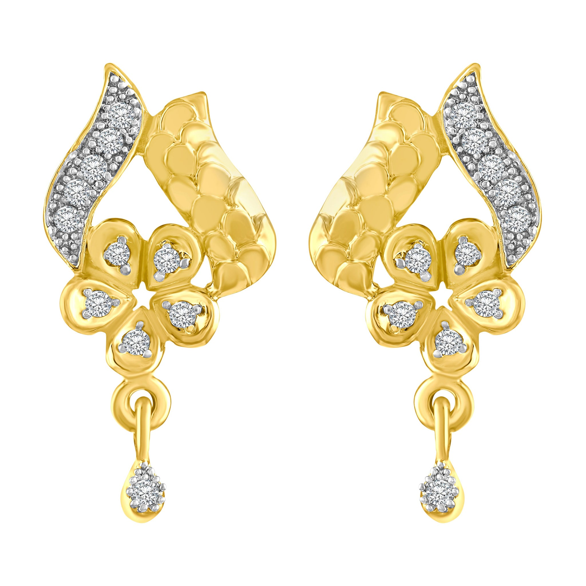 Asmitta Finely Flower Shape American Diamond Gold Plated Dangle Earring For Women