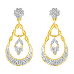 Asmitta Bewitching Half Circle American Diamond Gold Plated Dangle Earring For Women